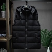 Winter Sleeveless Jacket Men Casual Down Vest Men Warm Thick Hooded Coats Male Cotton Pad Men's Work Waistcoat Gilet Homme L-4XL1