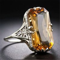 Citrien Gemstone Yellow Crystal Rings for Women Vintage Carving White Sier Color Indian Jewelry Party Gifts Fashion Accessories23f8
