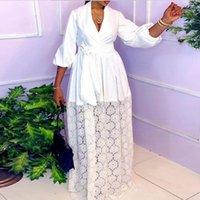 Ethnic Clothing African Dresses For Women Hollow Out Autumn Elegant Muslim Fashion Abayas Dashiki Robe Kaftan Maxi Dress Africa