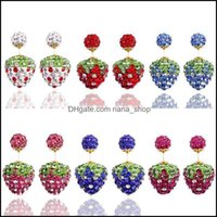 Stud Jewelrystud Woman Fashion Sier Plated Jewelry Colorf Crystal Disco Ball Beads For Wedding Stberry Earrings Drop Delivery 2021 X6Uyq