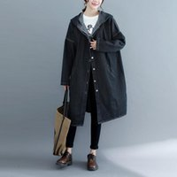 Women's Trench Coats 2021 Korean Spring Fall Retro Long Sleeve Denim Loose Jeans Windbreaker Solid Hooded Overcoats Large Size