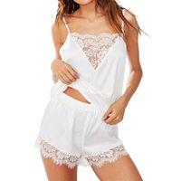 Sexy Lingerie Sleepwear Women Satin Lace Casual Loose Sleeveless Nightgown Two Pieces Pajama Set Plus Size Nightwear