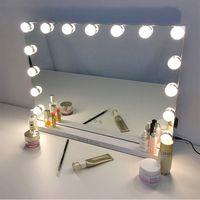 مرآة الألومنيوم هوليوود الغرور مع أضواء LED للمكياج، 15 لمبات