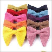 Neck Ties Fashion Aessoriesmens Veet Vintage Bow Tie For Men Women Tuxedo Solid Color Big Bowtie Bowknot Adt Mens Bowties Cravats Yellow Tie