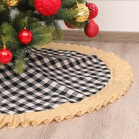 DHL 2021 Christmas Tree Skirt Red Grey Linen Gingham Ornaments Festive Scene with Bottom Decoration Apron Decorations 120cm