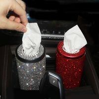 Bling Crystal Box Creative Diamond Table Tube Auto Tissue Hotelder Case House для Girls Car Accessor