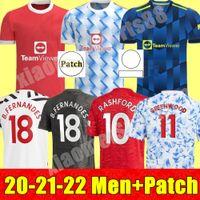 Manchester 2021 2022 Jerseys de futebol Unido Cavani Utd Van de Beek B. Fernandes Rashford Camisa de Futebol 20 21 Homem Humanrace Quarto