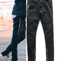 Tasarımcı Erkek Siyah Motosiklet Biker Elastik Yırtık Denim Jeans Erkekler Vintage Erkekler için Sıkıntılı Yıkandı