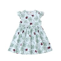 Kids Dress Girls Four Leaf Clover Print Round Collar Sleeve ...