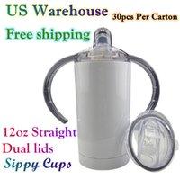 EE. UU. Warehouse 12oz Sippy Cups Tumblers de sublimación en blanco con 2 párpados Bebé Bebé Botella de agua Doble Pared Al vacío Aislamiento Niños Beber Vaso 1 Cartón 30pcs
