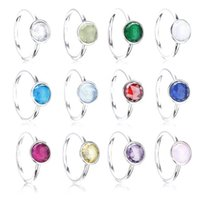 Bulk sale crystal main stone sterling silver jewelry fashion Colorful birthstone rings for women