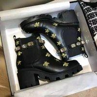 Martin Boots Designer de lujo 2021Fashion Cowboy Cowboy Plataforma desértica para mujer Winter100% Real Leather Chunky Tacones 5cm Soles de servicio pesado