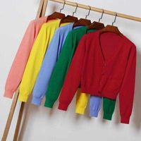 Flymokoii outono com decote em v manga comprida suéter solto xl 2xl fêmea casual knitwear curto tops mulher shrug cardigan g0922