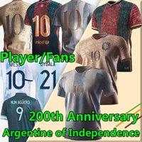 2021 Argentina Messi Futebol Jerseys Barca Guerra Argentina da Independência 200 º aniversário Dybala di Maria Higuain Kun Aguero Lautaro Men + Kit Kit de futebol Jersey