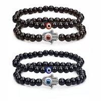 Fashion 6mm Natural Stone Beads Evil Blue Eye Strands Beaded Bracelet 2pcs set Handamde Turkish Eyes Bracelets for Women Men Yoga Reiki Jewelry