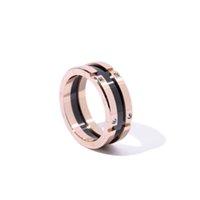 고품질 스테인레스 스틸 망 반지 블랙 세라믹 티타늄 쥬얼리 옐로우 골드 패션 여자 큰 반지 선물 상자