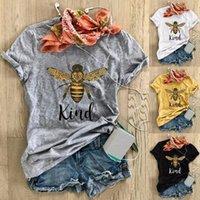 Пчела Цветок Kawaii Print Мода Женщины Футболка Графический Симпатичный Плюс Размер Стиль Богемия Tees Женская