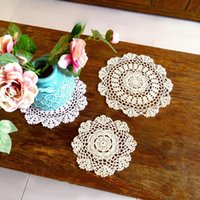 Mats & Pads Cotton Lace Placemat Cloth Crochet Cup Round Kitchen Table Place Mat Wedding Tea Coffee Doily Handmade Pad