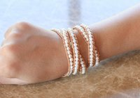 Charm Bracelets QUANCHI Pearl Bracelet Pulseras Handmade 5 Wrap Leather Strand Cuff Couples&Mothers Gifts Jewelry