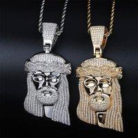 Кулон ожерелья хип-хоп CZ Zircon камень мощеный Blingced Out Out Big Isus кусок кулон ожерелье для мужчин рэпер украшения золота цвет