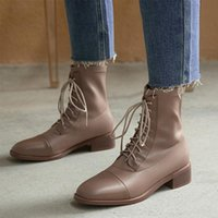 Boots Cross-tied Winter Good Qualtiy Fashion Leisure Women Ankle Square Heels Solid Genuine Leather Comfortable Shoes Woman
