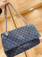 LUXURYS Designer 2021 Donne di lusso Donne Packs Delicati ricamo Costly Stripes Fashion Denim Canvas La grande capacità borse da shopping blu