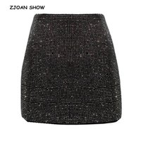 Jupes zjoan spectacle 2021 femmes paquet hanches strass brillant mini jupe noir sexy taille haute taille mince coupe courte crayon femme
