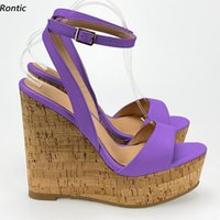 Sandals Rontic Handmade Women Ankle Strap Unisex Wedges Heels Open Toe Gorgeous Purple Red Fuchsia Party Shoes US Size 5-20