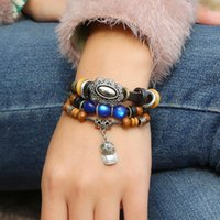 Charm Bracelets Ethnic Style Big Oxidized Alloy Men Blue Beads Silver Charms Bangles Women Cuff Jewelry Sculpture Cap Pendent Pulseras