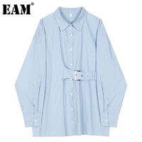 [EAM] Женщины большой размер асимметричной пряжки блуза отворота с длинным рукавом свободная подходит рубашка мода прилив весна осенью 1dd4238