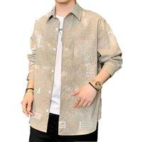Printemps automne chemises hommes imprimés chemise mode décontracté blanc manches longues concepteur hommes vêtements homme