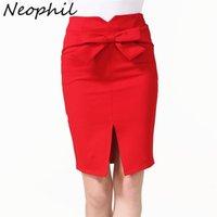 NEOPHIL Femmes front fragment nœud nœud nœud genou longeron jupes crayon 2021 été taille haute taille plus maigre jupe courte tutu Saia lapis S1810