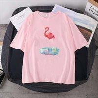 Camisetas para hombres 2021 verano flamenco impresión camiseta moda pintada arte casual de manga corta 100% algodón cuello redondo de 14 colores top unisex
