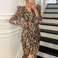 New Autumn Moda donna con scollo a V sexy a maniche lunghe sahses leopardo stampa chiffon abito asimmetrico plus dimensione SML