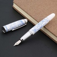 Fountain Pens High Quality Chinese Blue And White Porcelain Pattern Medium Nib Pen Stationery Office School Supplies