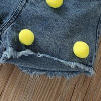 Shorts Baby Girls Wool Ball Denim Kids Clothing Ripped Jeans Pants Corn Distressed Todder Bottoms 2 To 8 Yrs