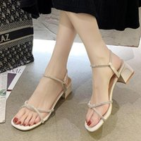 Sandals 2021 Summer Bling Woman Crystal Sexy Heels Shoes For Ladies Gold Narrow Band Sandalias Mujer White Wedding 9037G