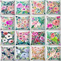 Pillow Case Vintage Floral Hand Paintings Cushion Cover Pink Roses Polyester Throw Colorful Flower Pattern Square Pillowcase