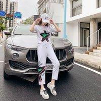 2021 Spring and Summer New Fashion Korean Leisure Temperament Versatile Two Piece White T-shirt Women's Suit Women