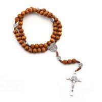 Yutong cristã presentes católicos vintage jesus cruz rosário colar de jóias no pescoço liga de zinco material de madeira maciça 2021