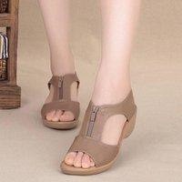 Sandals Summer Women's High Heel Wedges Open Toe Sandalias Woman Zip Platform Sandal Outdoor Casual Ladies Shoes Plus Size