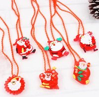 LED Christmas Light Up Flashing Necklace Children Kids Glow up-Cartoon Santa Claus Pendant Party Xmas Dress Decorations Gifts DHA8724