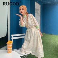 Rugod coreano chi oco out vestido de verão mulheres moda laço bordado festa de praia midi vestidos vestidos elegante babados vestido1