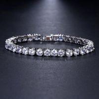 Link, Chain KSRA Fashion Shiny Round Crystal Bracelet For Women Wedding Bridal Party Holiday Gift Cz Zircon Bracelets Jewelry 2021