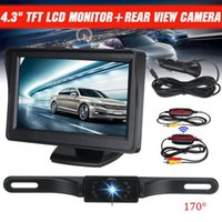 "Car Rear View Camera 4.3"" LCD Monitor Wireless Night Vision IR EU License Plate Reverse Waterproof Backup Cameras& Parking Sensors"