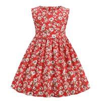 아이들 소녀 드레스 민소매 꽃 인쇄 공주 드레스 패션 유아 소녀 여름 드레스 아기 드레스 chidren 스커트