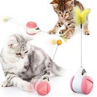 Pet Mulino a vento Teasing giocattolo interattivo giocattolo giocattolo giocattolo giradischi divertente gatto bastone puzzle allenamento con catnip piume forniture per animali domestici HHD7718