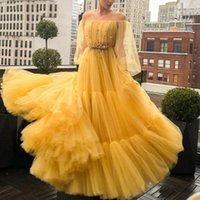 Party Dresses Yellow Evening Long Sleeves Crystal Beaded Pleats Tulle A Line Prom Gowns Plus Size Woman Dress Custom Made