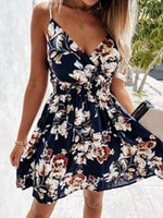 Floral Straps Mini Spring Summer Clothes Dress For Women'S Vetement 2021Vintage Casual Female