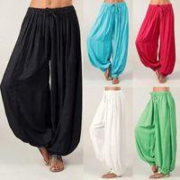 Women Plus Size Solid Color Casual Loose Harem Pants Yoga Jumpsuit Trousers Sport 2021 Female S-3xl Women's & Capris